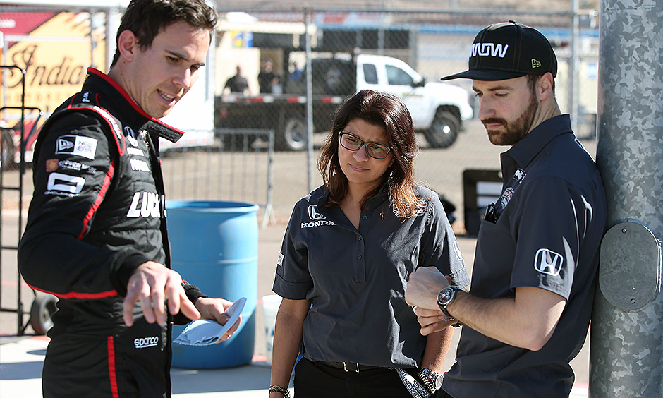 Robert Wickens, Leena Gade, and James Hinchcliffe