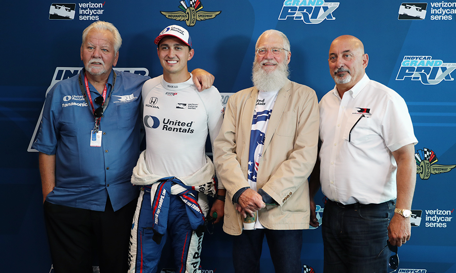 Mike Lanigan, Graham Rahal, David Letterman, and Bobby Rahal
