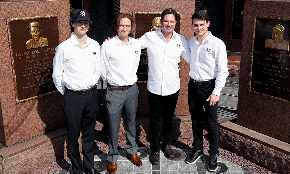 Colton Herta, George Steinbrenner IV, Mike Harding, and Patricio O'Ward