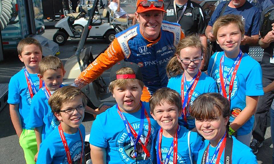 Scott Dixon with Serious Fun kids