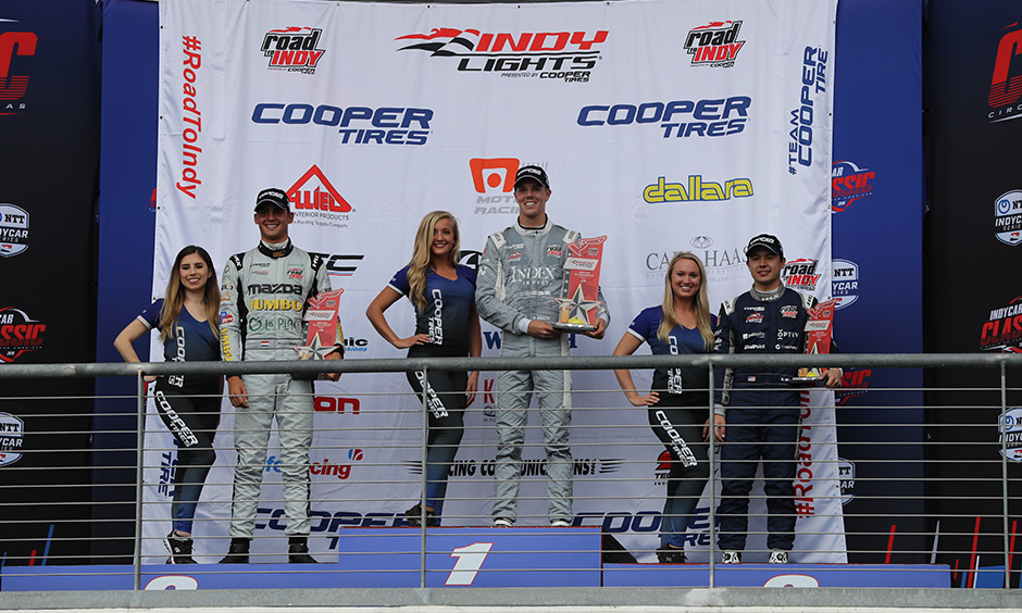Oliver Askew Indy Lights race 1 podium COTA