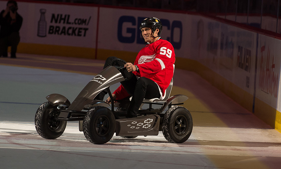 Max Chilton pedal kart at Red Wings game