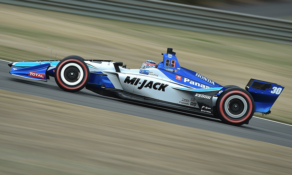 Takuma Sato on track Barber