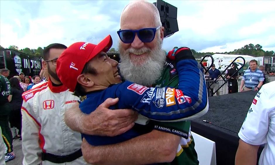 David Letterman hugs Takuma Sato