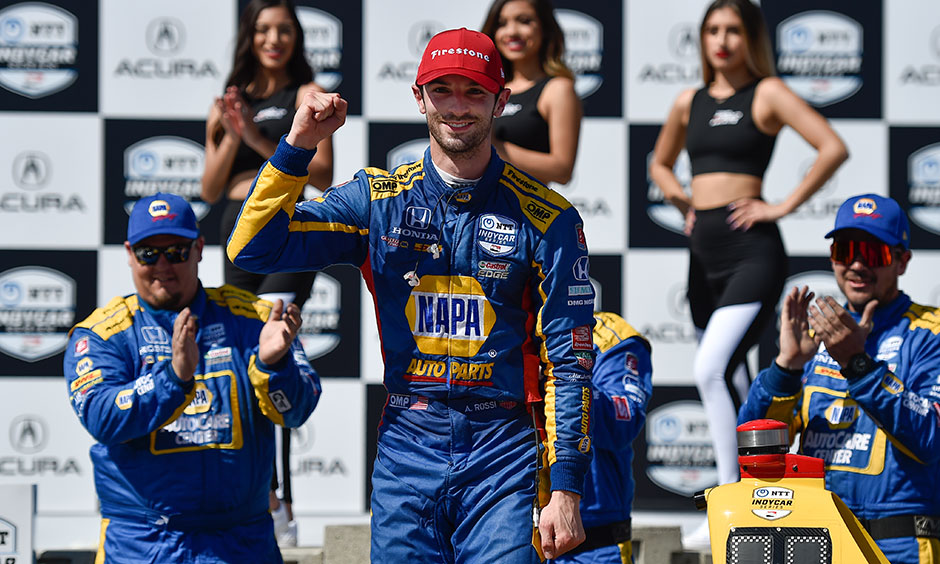 Alexander Rossi in victory circle