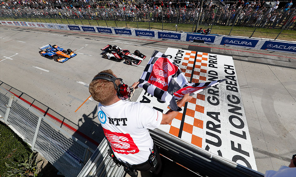 Graham Rahal and Scott Dixon, Long Beach finish line
