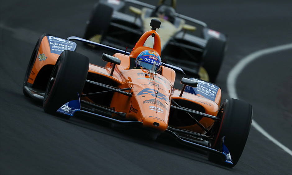 Fernando Alonso on track IMS open test