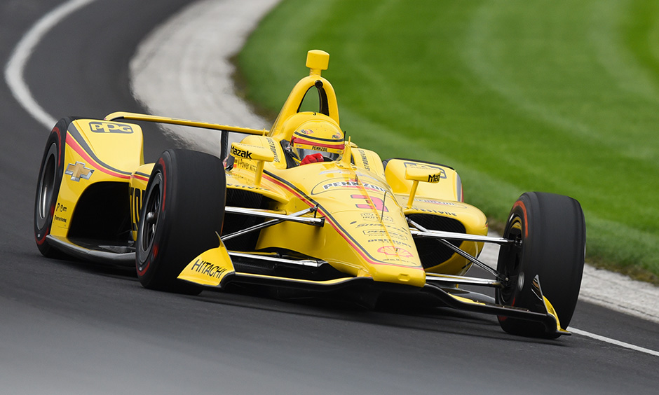 Helio Castroneves on track Indianapolis open test