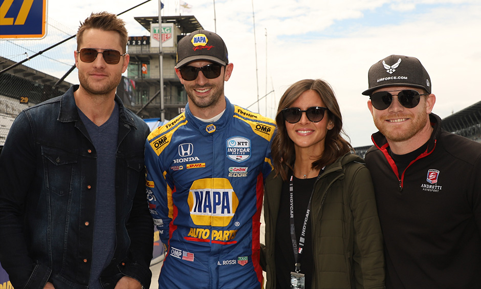 Justin Hartley, Alexander Rossi, Kelly Moss and Conor Daly