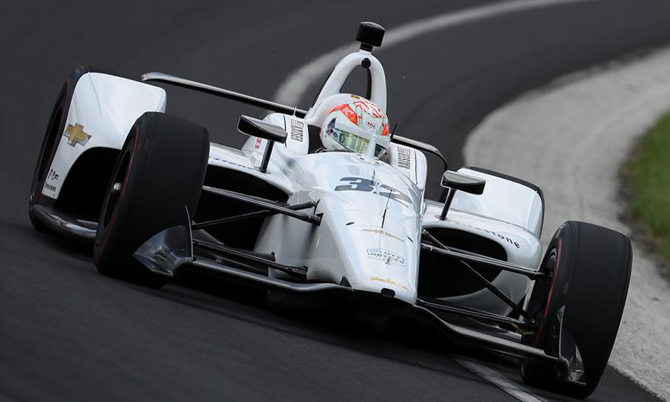 Kyle Kaiser white car Indy 500 practice