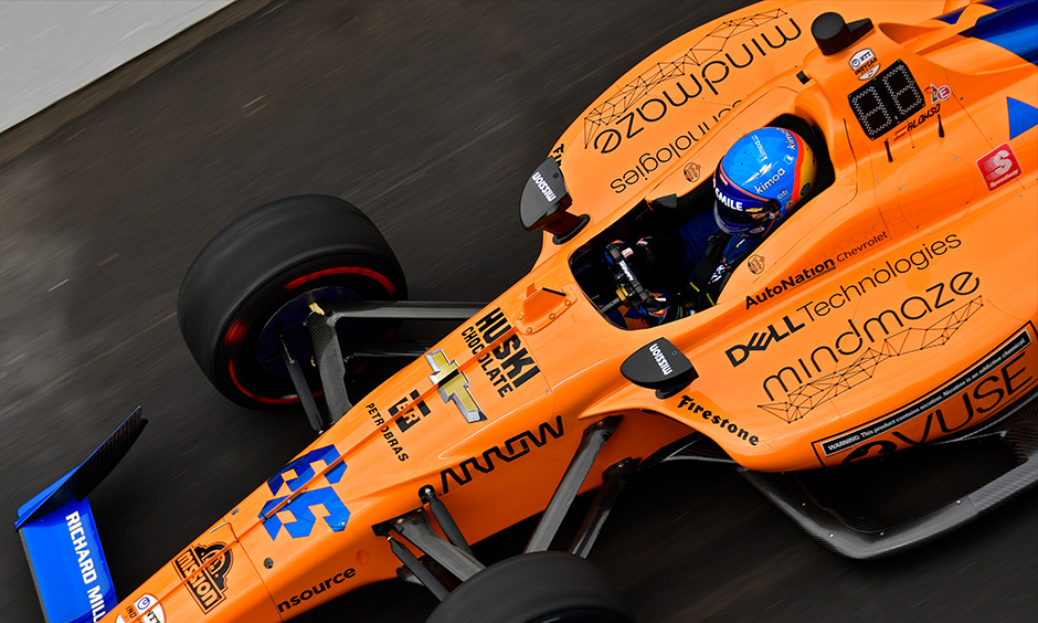 Fernando Alonso on track Indy 500 practice