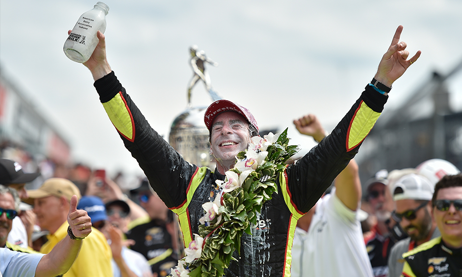 Simon Pagenaud soaking in milk Indy 500 victory lane