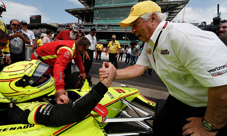 Roger Penske congratulates Simon Pagenaud Indy 500