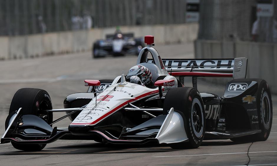 Josef Newgarden on track Detroit