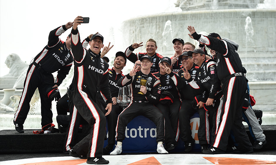Josef Newgarden and crew celebrate