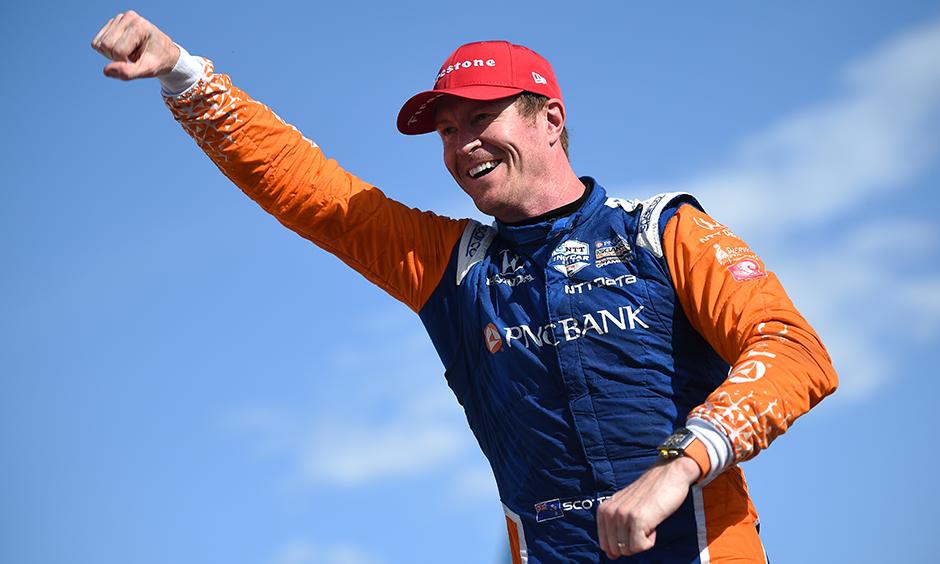 Scott Dixon celebrates win