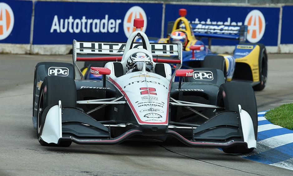Josef Newgarden leads Alexander Rossi on track Detroit