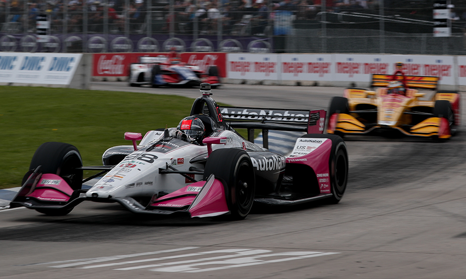 Marco Andretti and Ryan Hunter-Reay on track Detroit