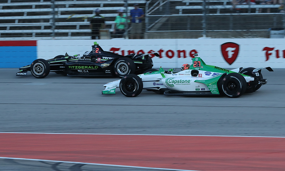 Josef Newgarden and Alexander Rossi on track Texas