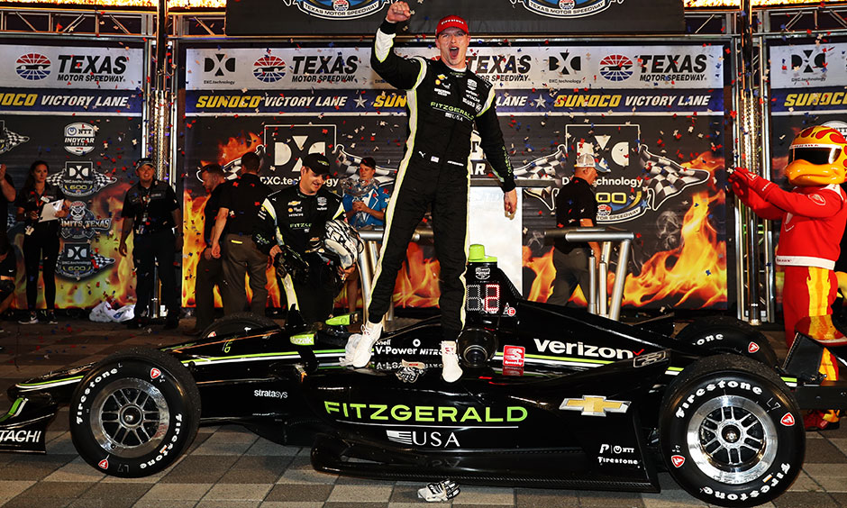 Josef Newgarden celebrates texas win
