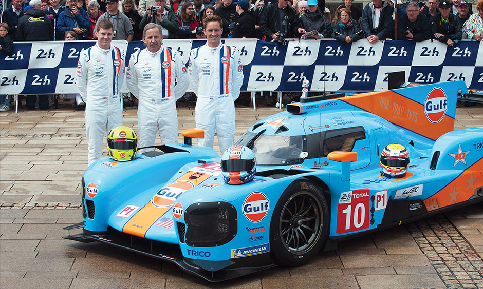 Ben Hanley with Gulf Le Mans car