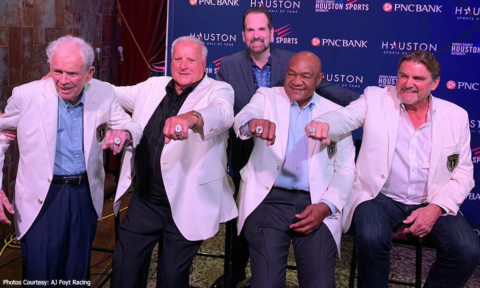 Jackie Burke Jr., A.J. Foyt, George Foreman and Dan Pastorini at Houston Sports Hall of Fame