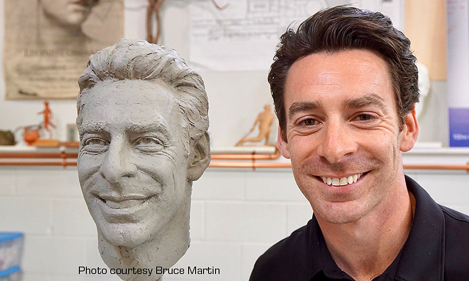 Simon Pagenaud and his scuplted head for the Borg-Warner Trophy