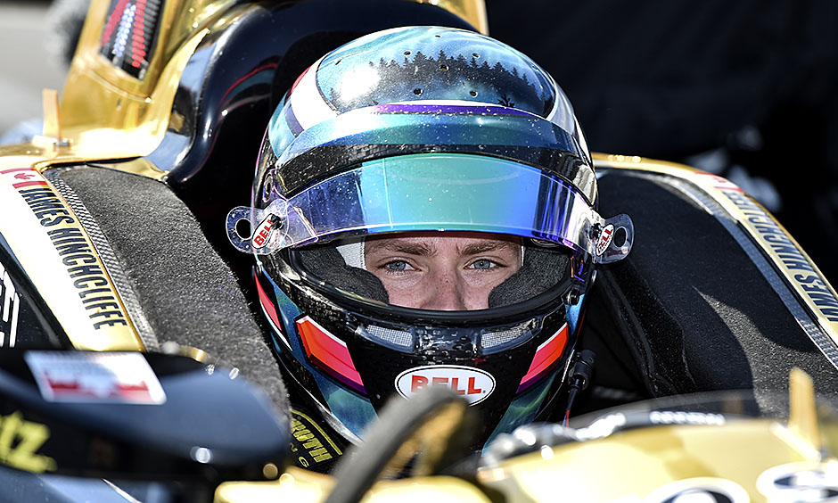 Aaron Telitz during his 2018 NTT IndyCar Series test day