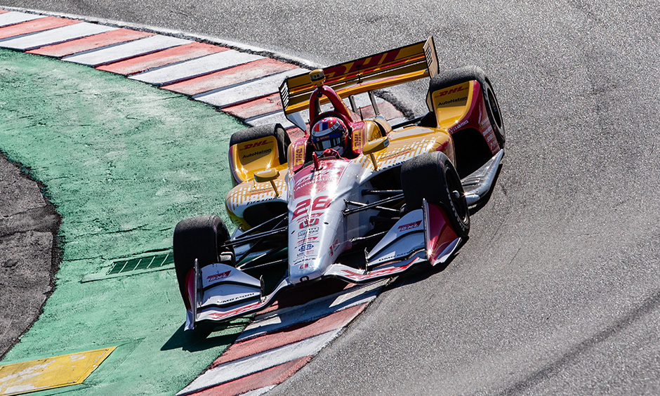 Alexander Rossi in Ryan Hunter-Reay's car