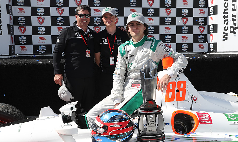 Mike Harding, George Steinbrenner IV and Colton Herta