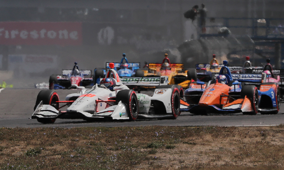 Colton Herta leads the field at the Grand Prix of Portland.