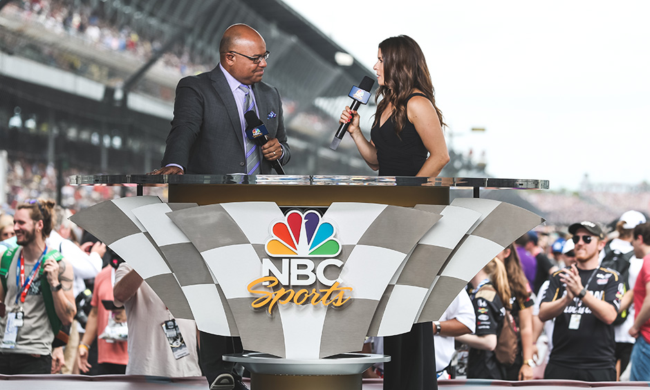 Mike Tirico and Danica Patrick at 2019 Indy 500