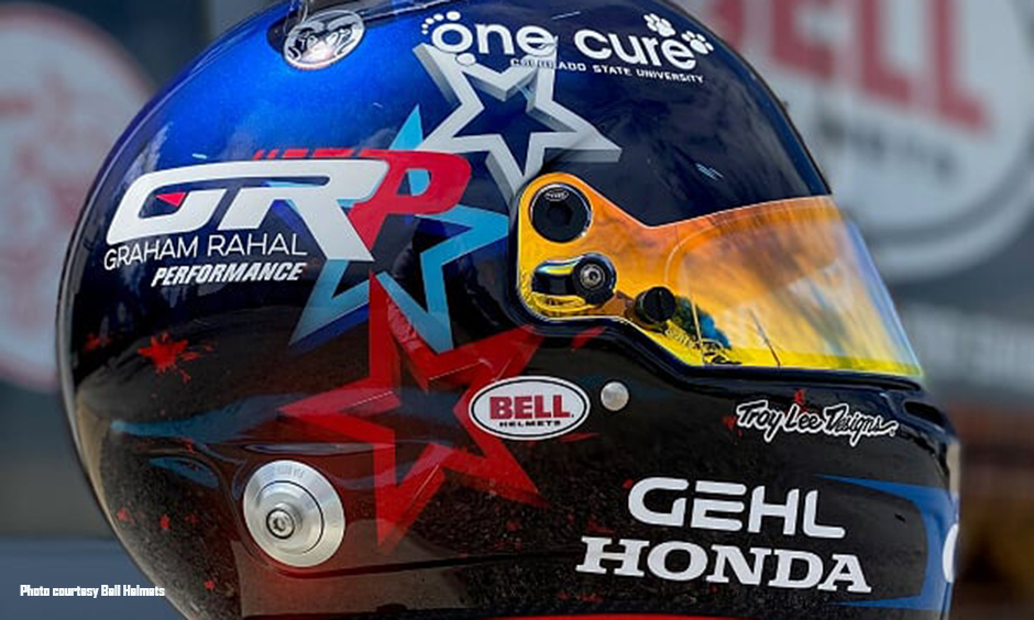 Graham Rahal's helmet honoring everyday heroes.