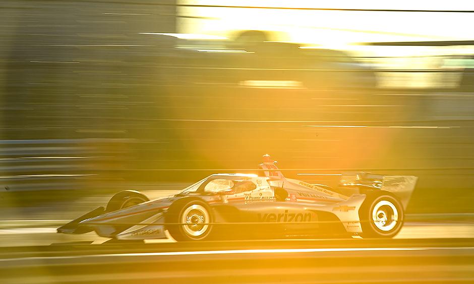Will Power's car in golden hour light