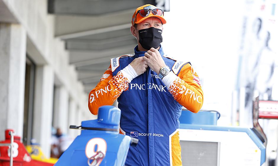Scott Dixon gets ready to practice his No. 9 PNC Bank Chip Ganassi Racing Honda.