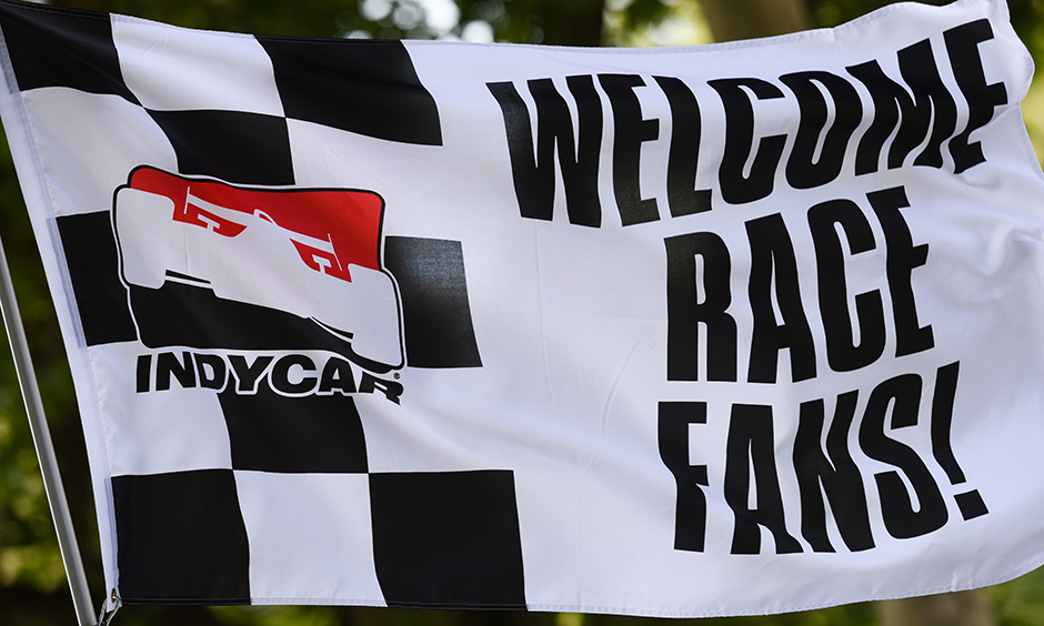 A welcome race fans flag