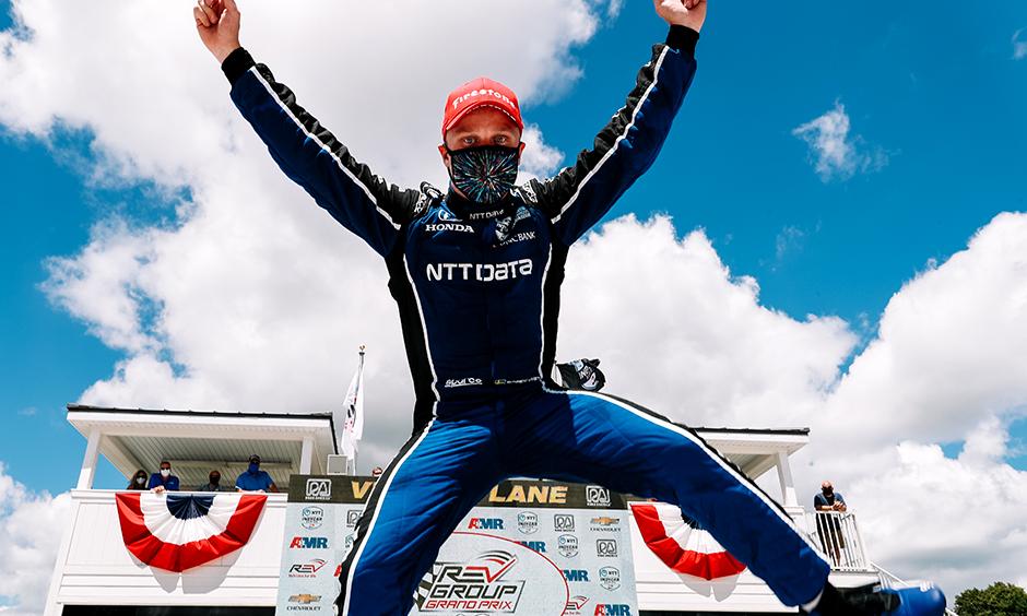 Felix Rosenqvist celebrates his win at Road America