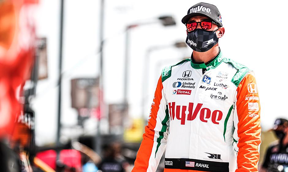Graham Rahal on pit lane at Iowa Speedway