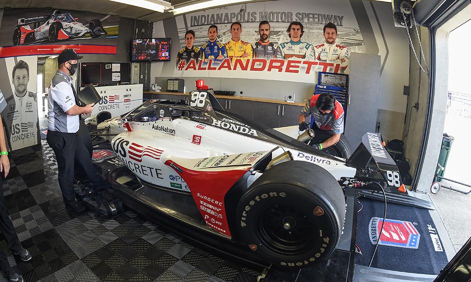 Marco Andretti's car in the Andretti Autosport garage