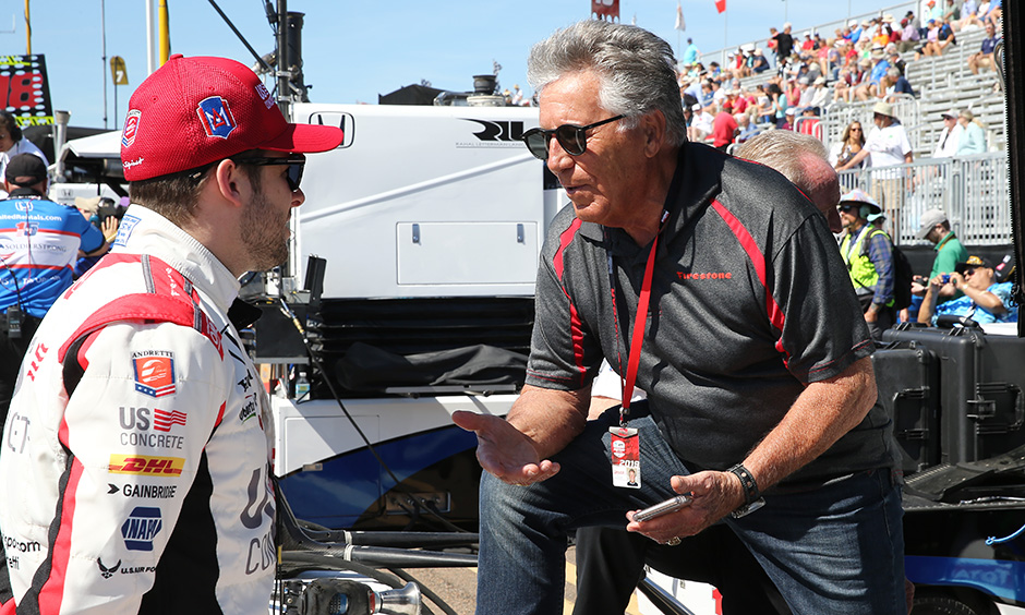 Mario Andretti talks with Michael Andretti