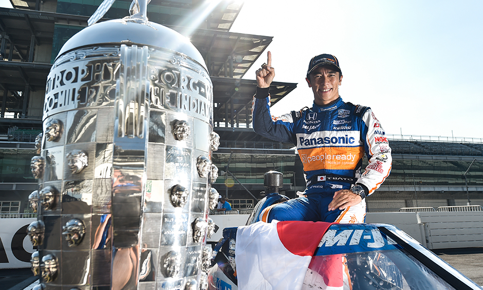 Takuma Sato with Trophy