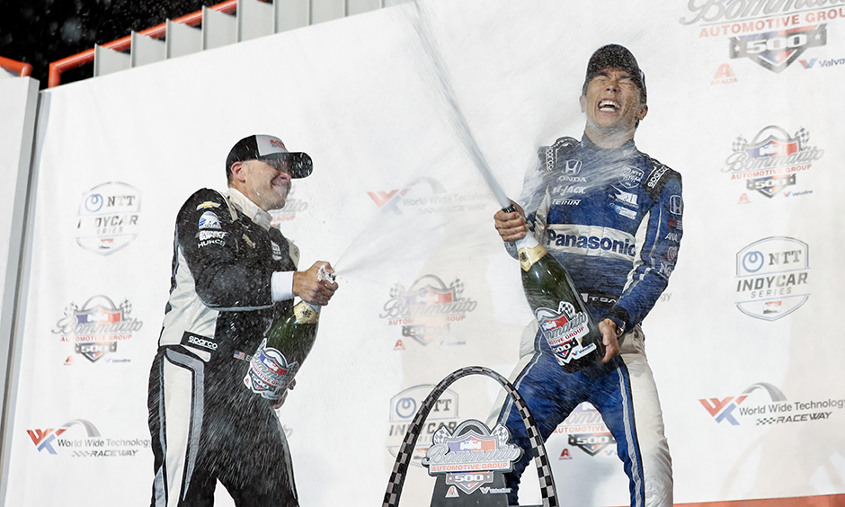 Takuma Sato celebrates his 2019 win at World Wide Technology Raceway