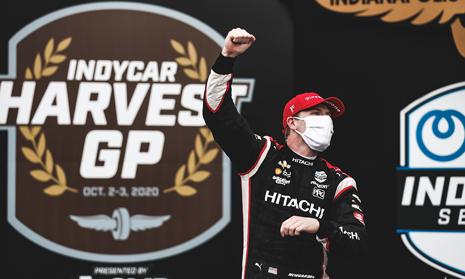 Josef Newgarden celebrates his win in the INDYCAR Harvest GP at IMS.