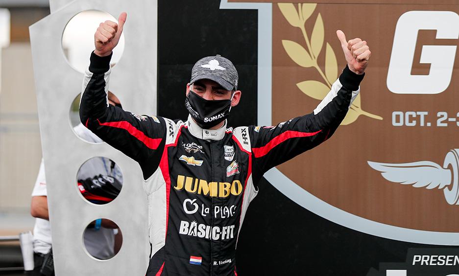 Rinus VeeKay celebrates his first podium