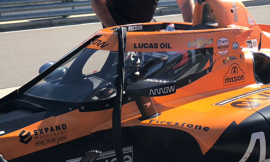 Felix Rosenqvist in his first test with Arrow McLaren SP