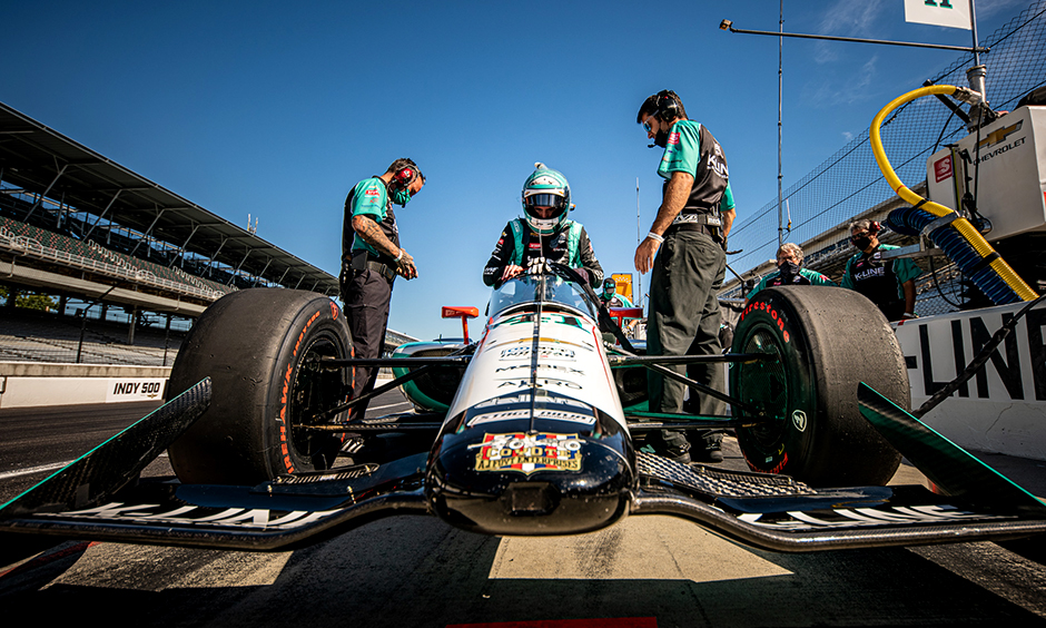 Dalton Kellet gets into his car at Indianapolis.