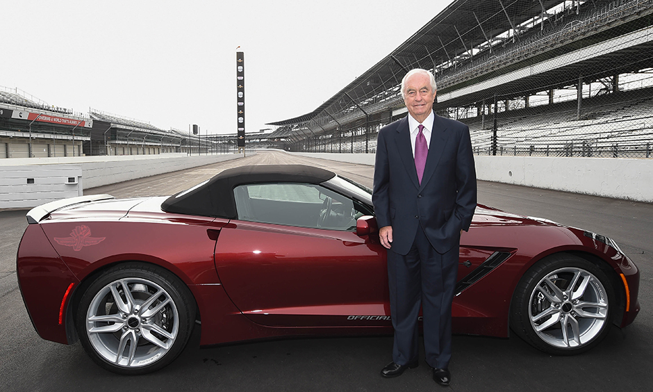 Roger Penske on the frontstretch of Indianapolis Motor Speedway.