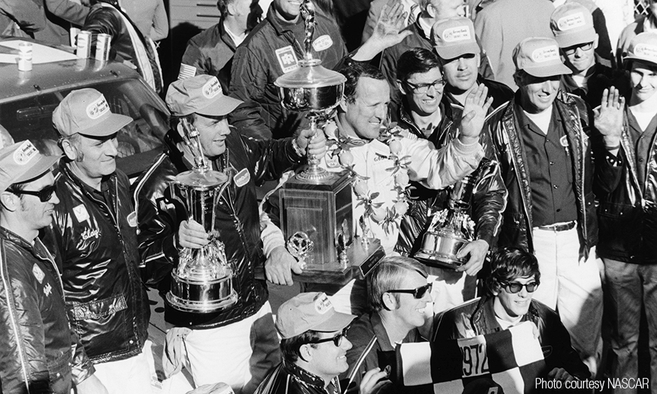 A.J. Foyt in winner's circle after his Daytona 500 win.