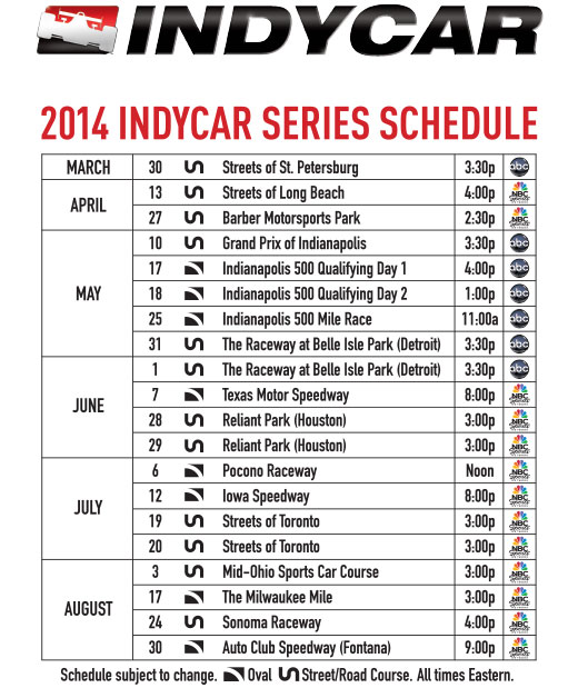 2014 IndyCar Series Schedule