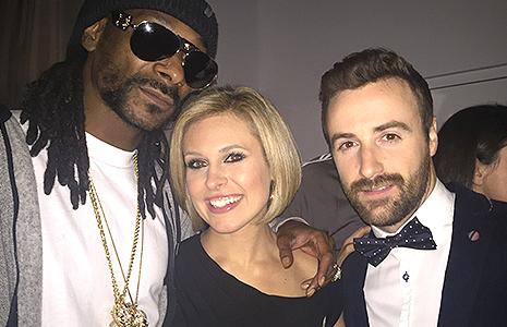 Snoop Dogg, Tessa Bonhamme, and James Hinchcliffe